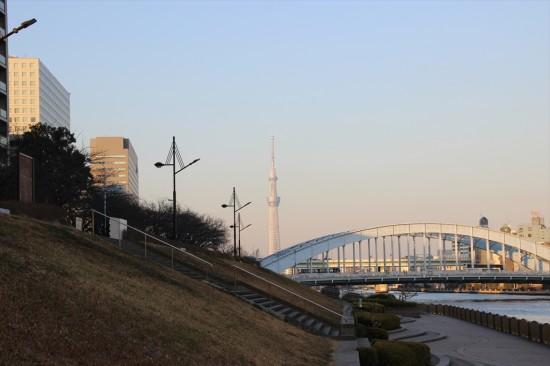 永代橋の先に見えるスカイツリー