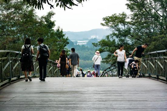 巾着田を形成する高麗川を渡るあいあい橋