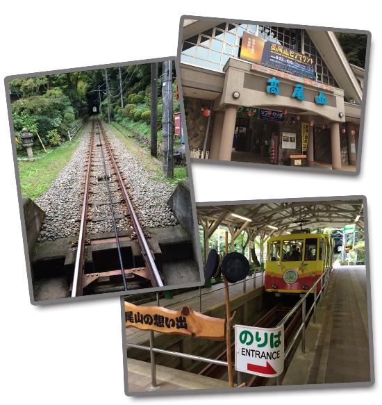 ケーブルカーの駅(右上)、デザインがかわいいモノレール(右下)、激しい傾斜を登っていく(左)