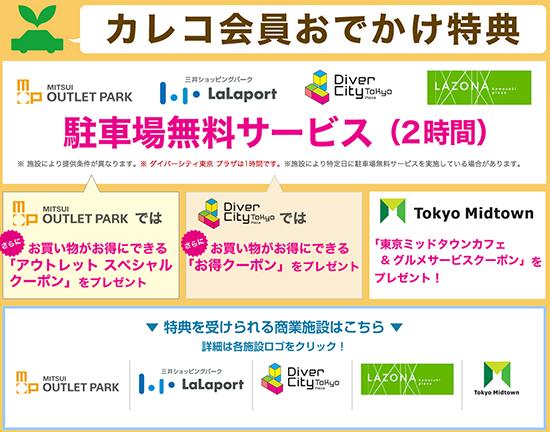 三井アウトレットパーク、東京ミッドタウンではカレコの会員証を提示すると特典が!