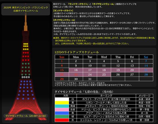クリスマスの時期は特別なイルミネーションになる東京タワー