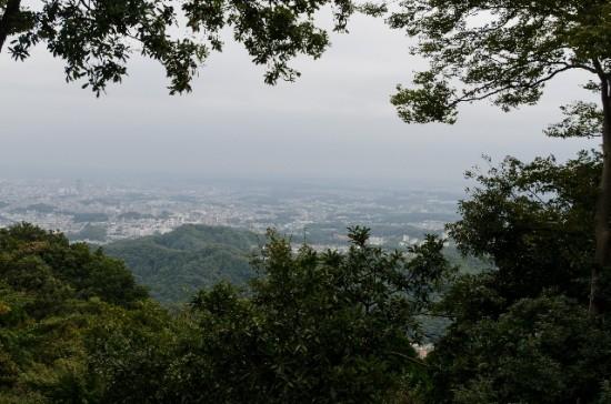 高尾山から東京の街並みを見下ろす