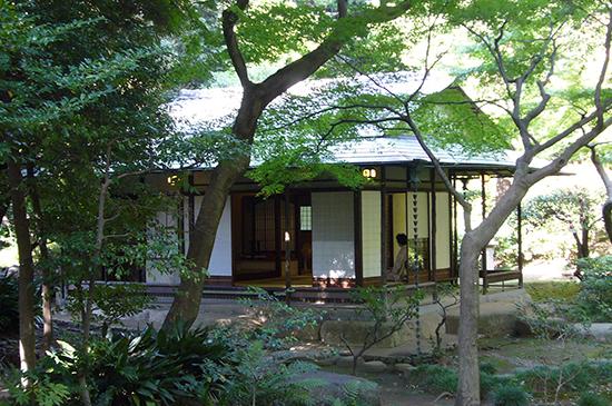 木立に囲まれひっそりとたたずむ茶室