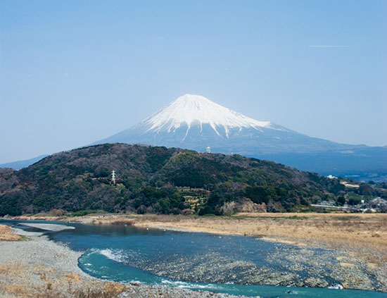 富士川と富士山のコンビネーション