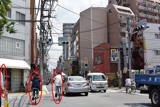 自転車のフラつき、歩行者のはみ出し