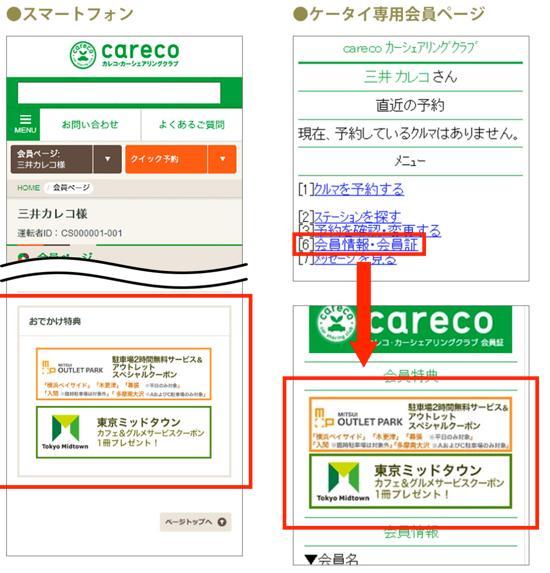 三井アウトレットパーク、東京ミッドタウンの特典バナーの表示方法