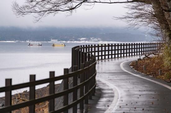山中湖周辺にはサイクリングロードが設けられている。春や夏には散歩すると気持ちよさそう