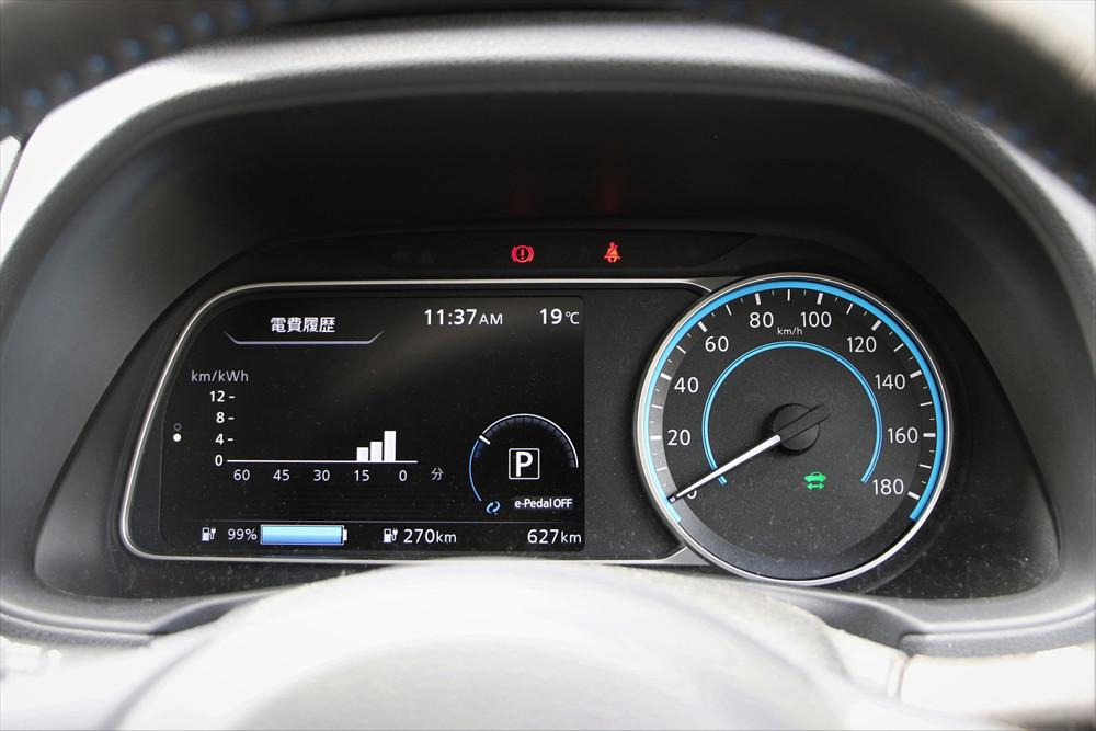メーターの表示が点灯していれば始動はOK。左のディスプレイにパワーゲージ、ナビやオーディオ、安全装備などの情報を表示する