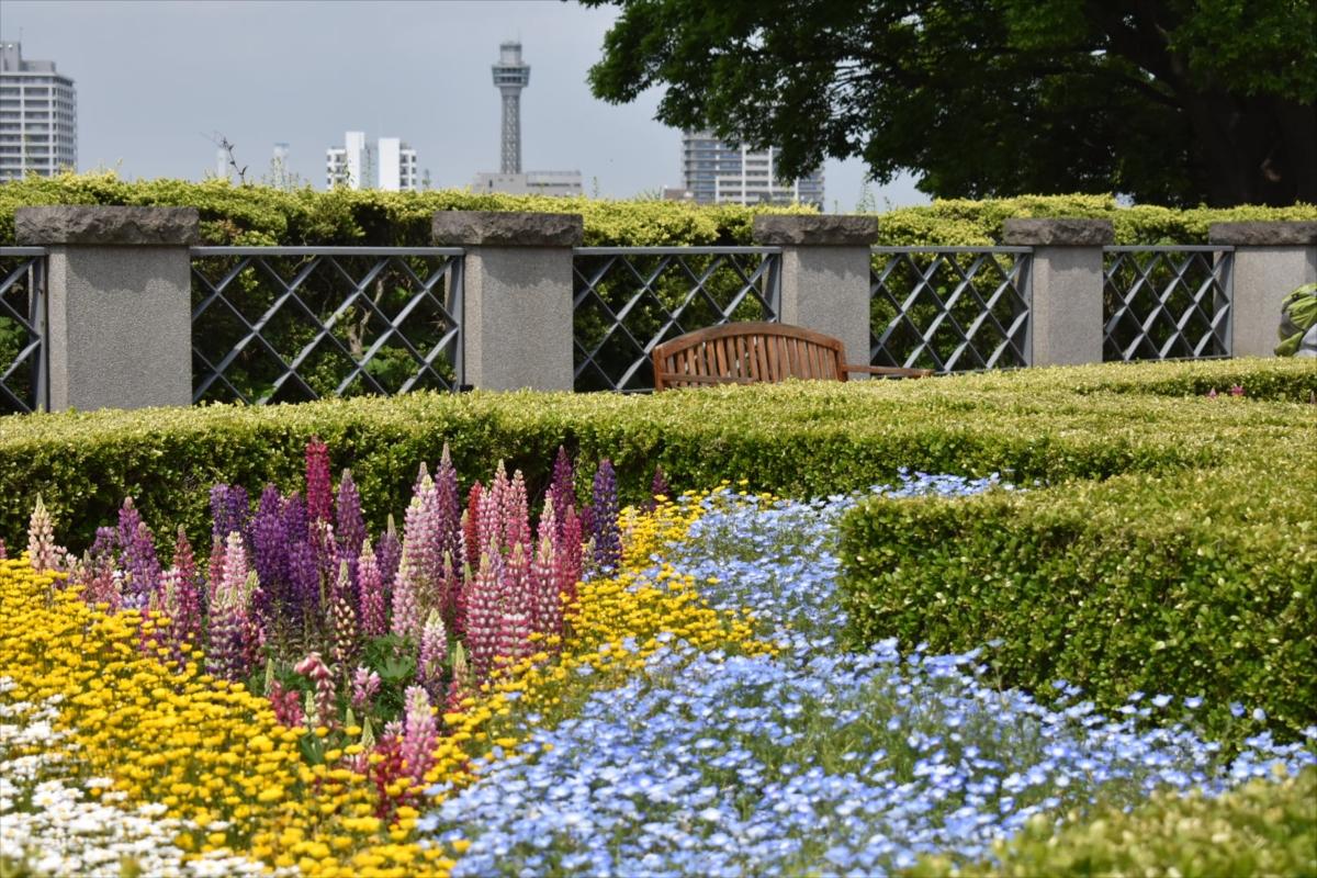 横浜マリンタワーの姿も見えた