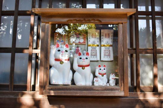 招福殿では大きさの異なる招き猫がお出迎え
