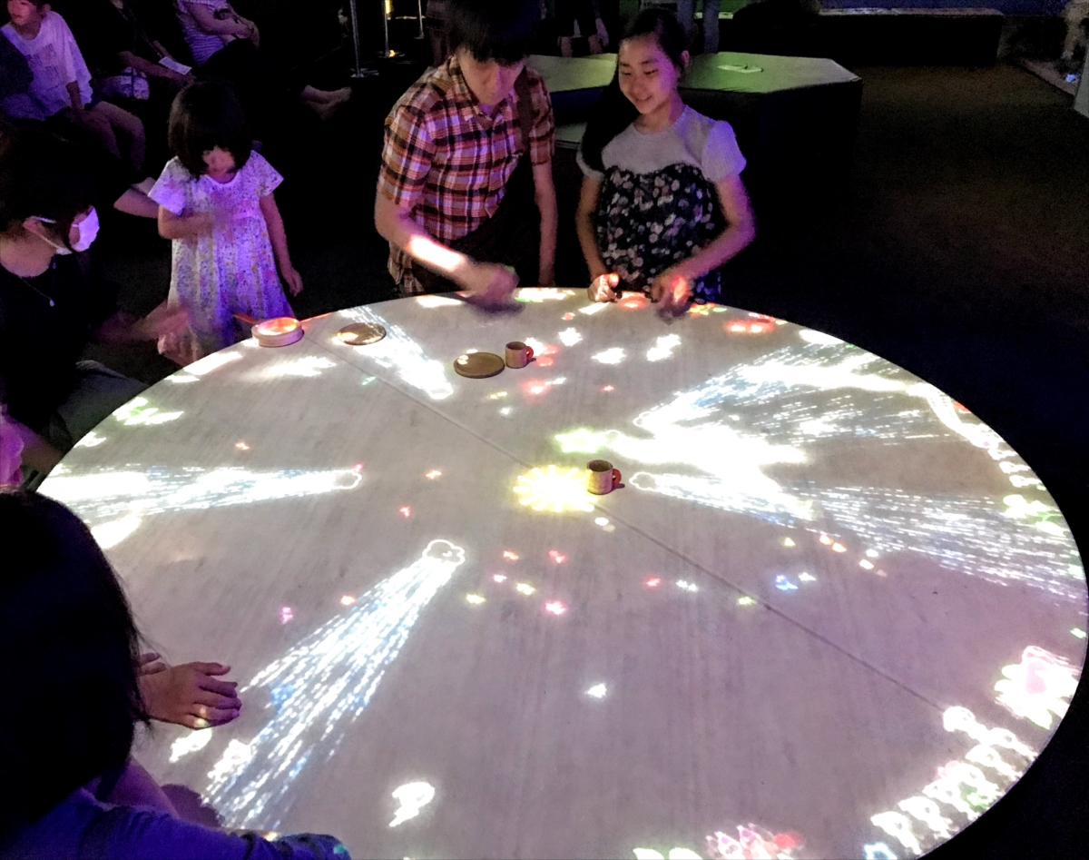 テーブルの周りにいる小人たちを手や物を使って遊ばせる