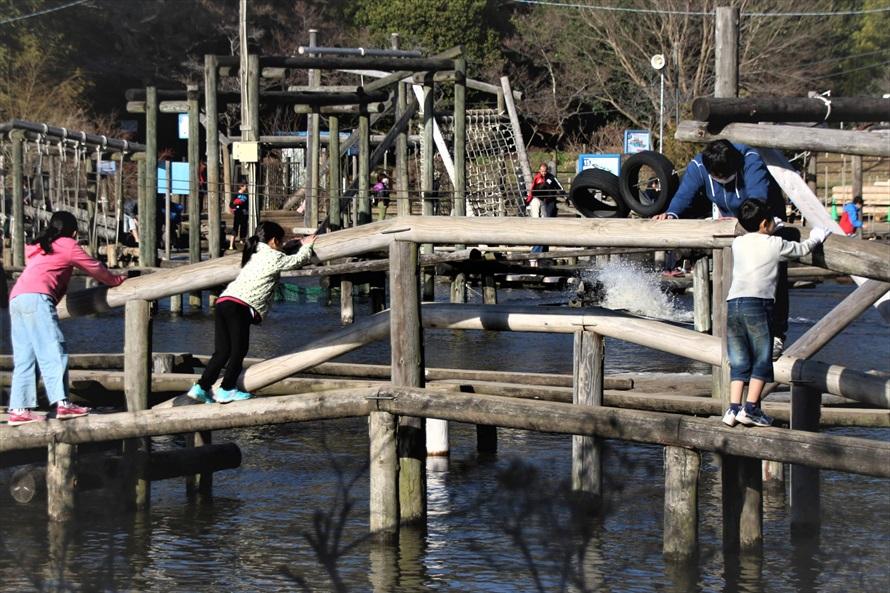水上アスレチックの「水面横進み」は落ちたら池にドボン