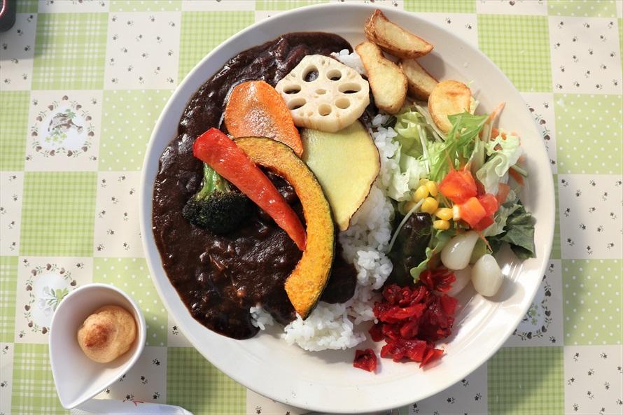 彩りがきれいな野菜のカレーを注文