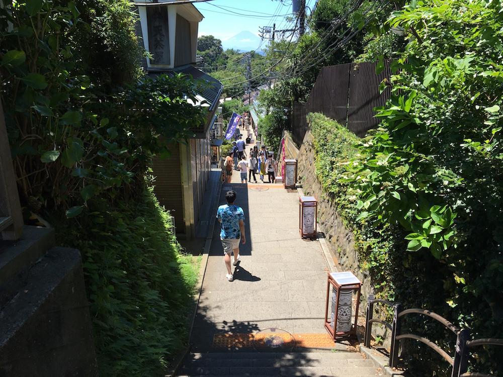 階段の多い小道は緑が多く、涼しげな景観。目線の先には富士山も