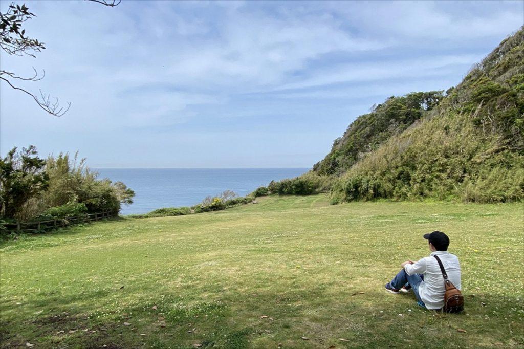 空気は少しけぶっていたものの、芝生園地からは大島が近くに見えた