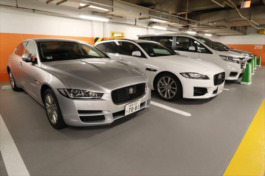 「新宿サブナード(地下駐車場)」ステーションにはジャガーの他にもメルセデス・ベンツなどの輸入車もある