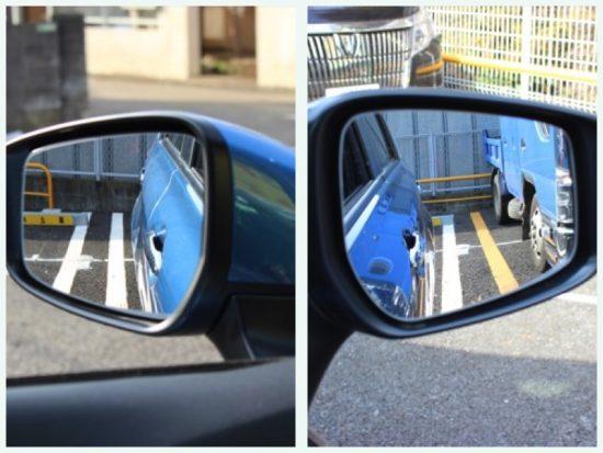 バックするときは、左右のミラーを見て、車体と枠がまっすぐになっているかを確認する