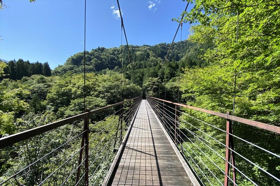 道志みち観光スポットのひとつに挙げられる「野原の吊り橋」。森の中のハイキングコースは「久保の吊り橋」に続いている