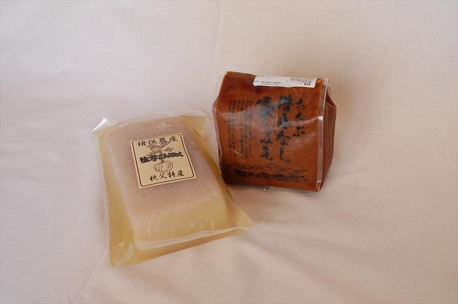 「生芋こんにゃく」は270円(税込)、「ちちぶ借金なし大豆味噌」は620円(税込)