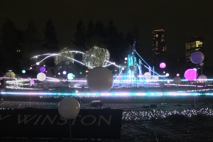 およそ19万球のLEDと100個のスターバルーン、中央のスペシャルタワーが演出するショーは「宇宙現象」をイメージしており、とても幻想的