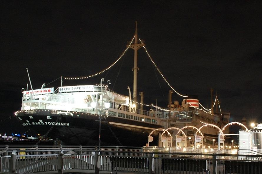 山下公園のシンボル的な存在「日本郵船氷川丸」。1930年に竣工し、1960年に運行を終了。1961年に山下公園に係留された。2016年に国の重要文化財に指定されている