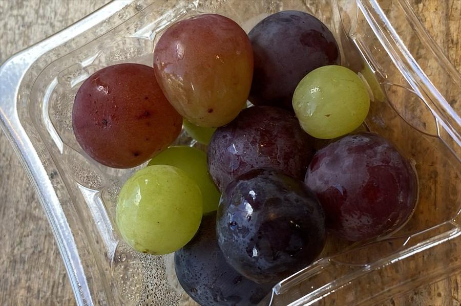 「本日のおすすめデザート」は100円(税込)。お土産にどのブドウを買うか、参考にできる