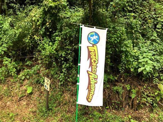 無料駐車場からはこの旗を目印に進みます