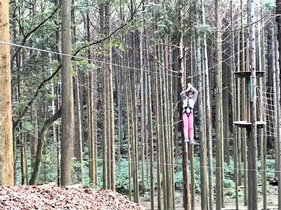 無事にコースをクリアした達成感と森の爽快感を味わえるジップライン