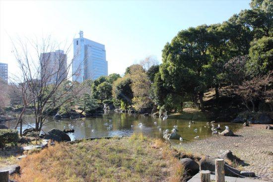 旧水戸藩屋敷跡や水戸徳川家下屋敷跡などがある日本庭園が広がる
