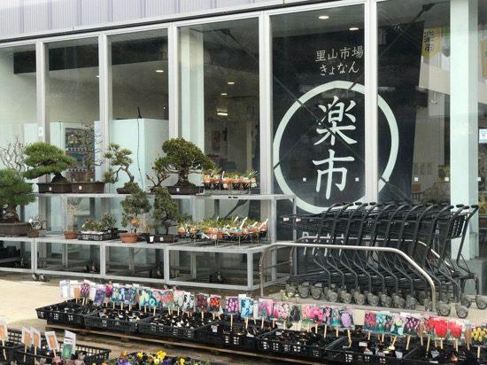 地元の花や野菜が並ぶ