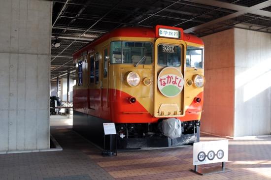 施設の外には電車が展示してある