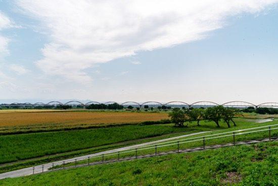 堤防沿いの道から見た荒川水管橋の全景。写真中央のアーチがその水管橋
