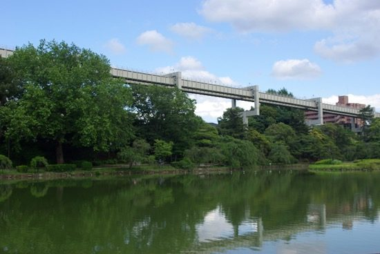 千葉公園からもモノレールが見えます